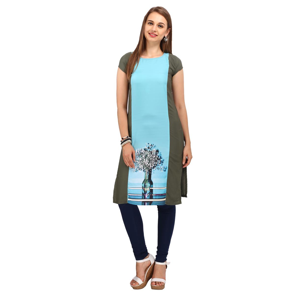 Grey - Blue Casual Printed Kurti
