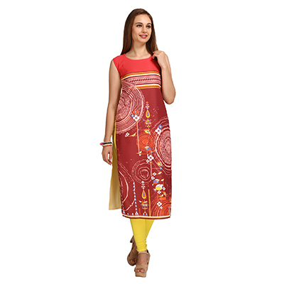 Brown - Red Printed Crepe Kurti