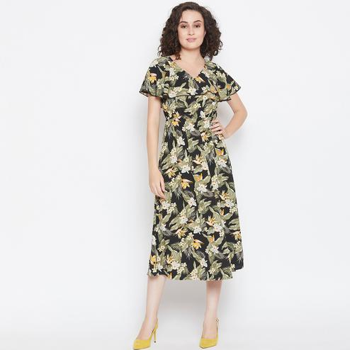 Glorious Black Colored Casual Wear Floral Printed Crepe 3/4 Dress