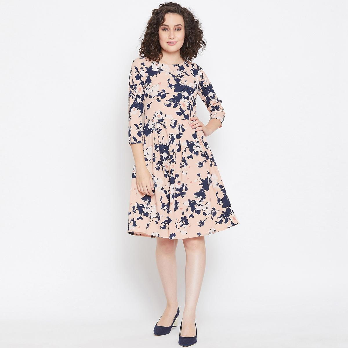 Attractive Pink Colored Casual Wear Printed Crepe Fit And Flare Box Pleat Dress