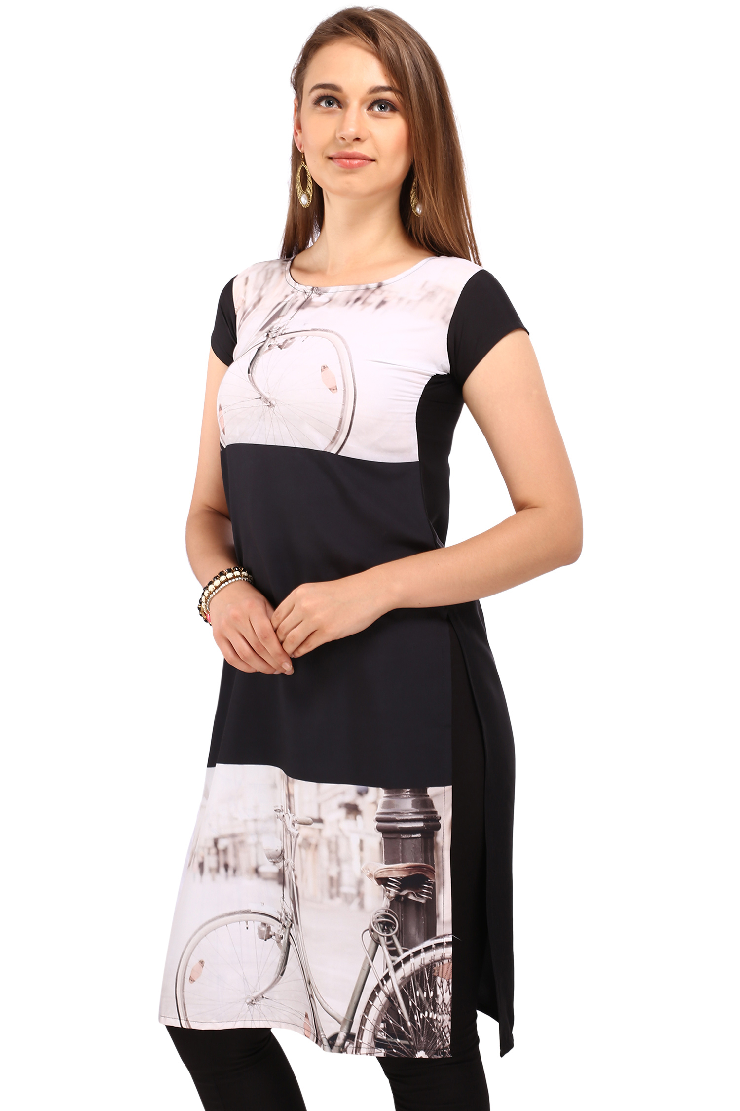 White - Black Digital Print Kurti
