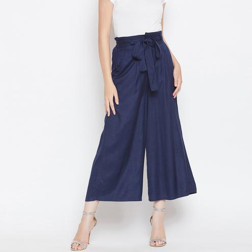 Captivating Navy Blue Colored Casual Wear Self Pleated High Waist Rayon Palazzo