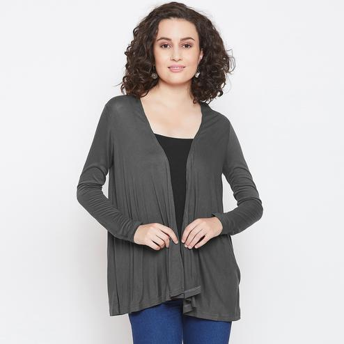 Amazing Grey Colored Casual Wear Solid Viscose Short Shrug