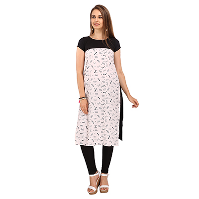 Cream - Black Fancy Print Crepe Kurti
