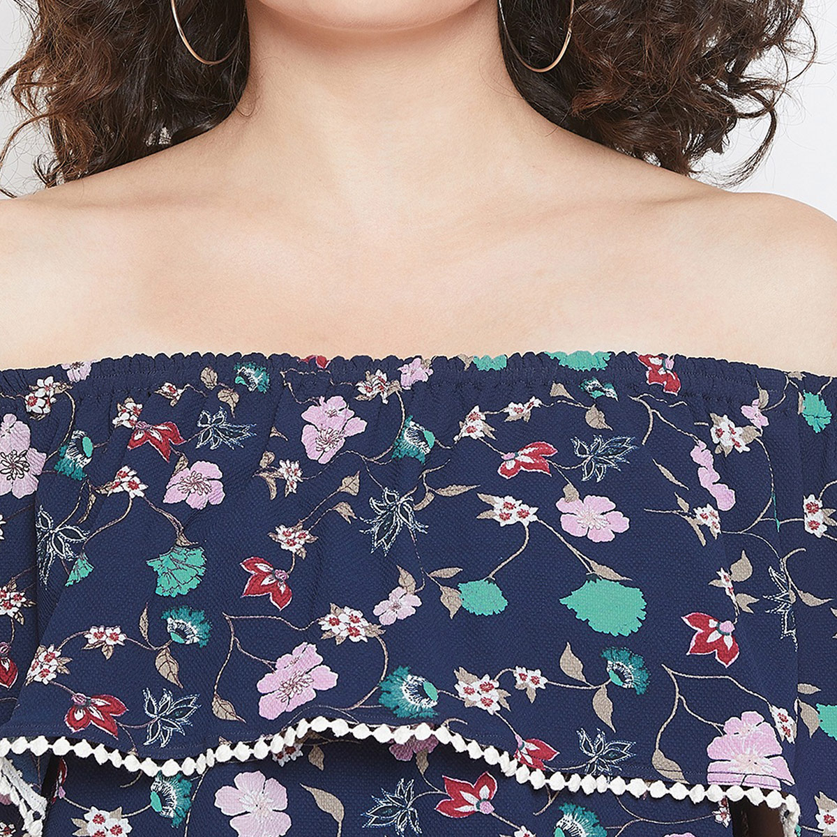 Ideal Navy Blue Colored Casual Wear Printed Off Shoulder With Lace Detailing Crepe Top