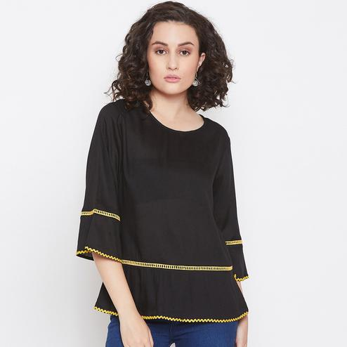 Imposing Black Colored Casual Wear Lace Detailing Rayon Top