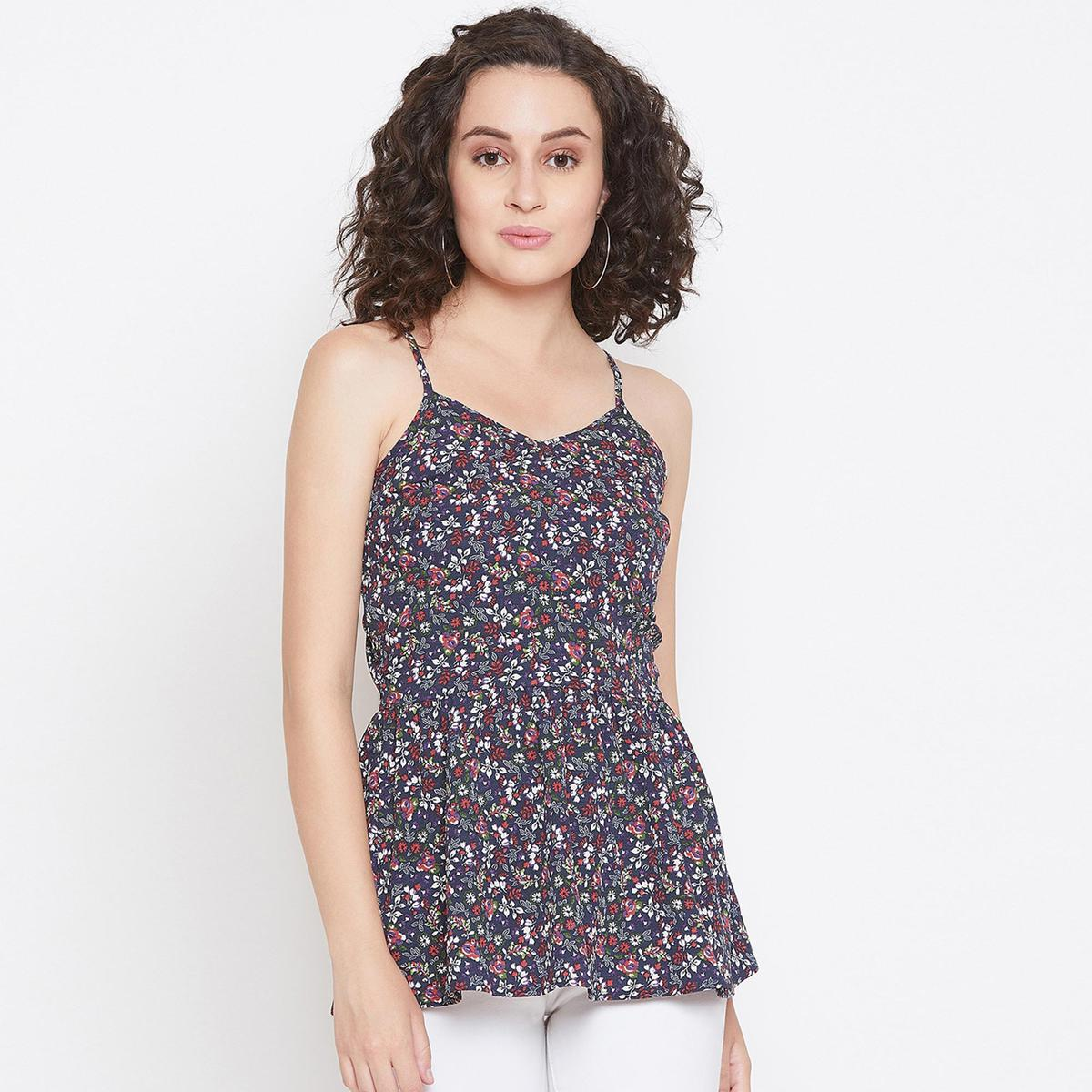 Majesty Navy Blue Colored Casual Wear Floral Print Fit And Flare Crepe Top With Adjustable Strap