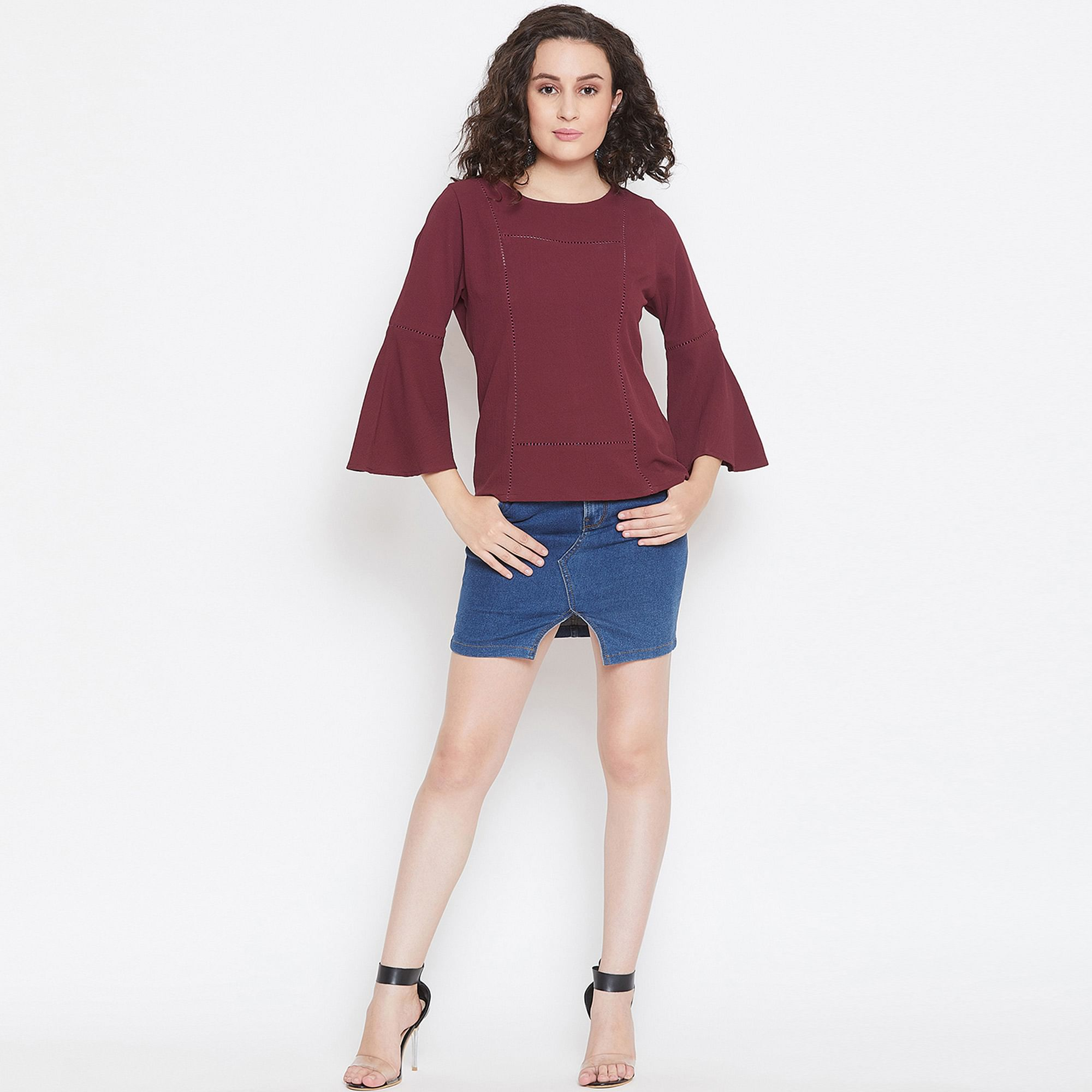 Mesmerising Wine Colored Casual Wear Ladder Lace Crepe Top