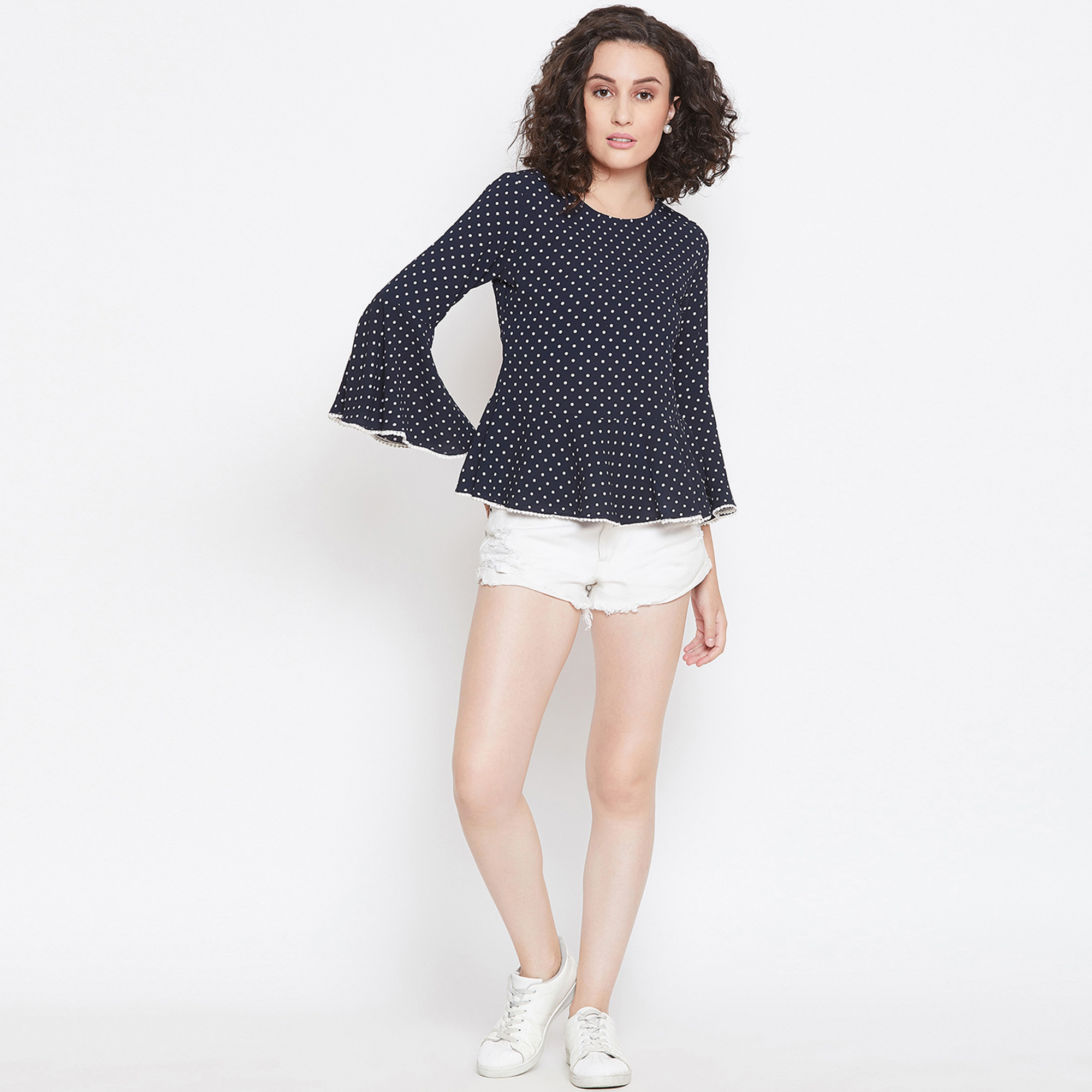 Ethnic Navy Blue Casual Wear Polka Dot Peplum Style Crepe Top With Lace Detailing