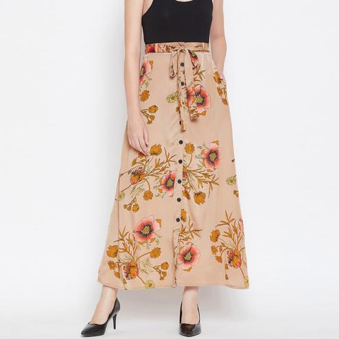 Eye-catching Beige Colored Casual Wear Floral Printed Button Down Silk Skirt With Self Belt