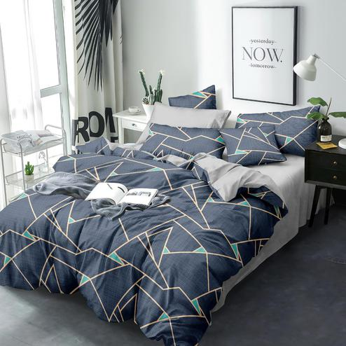 Elegant Grey Colored Geometric Printed Queen Sized Bedsheet With Cushion Cover