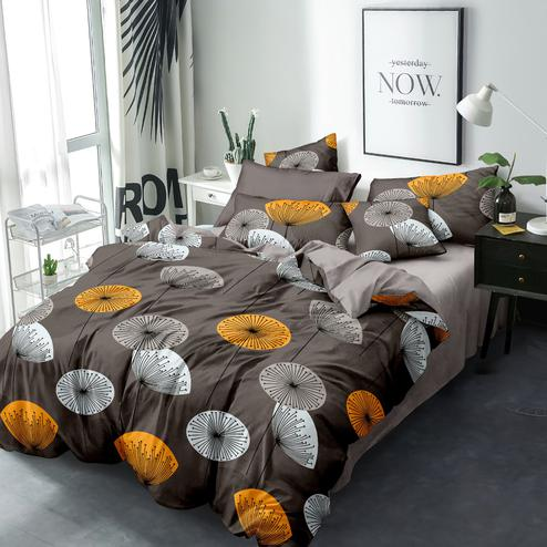 Pleasant Brown Colored Geometric Printed Queen Sized Bedsheet With Cushion Cover