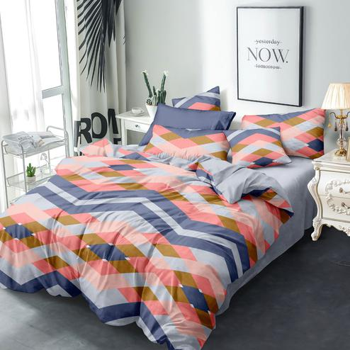 Glowing Multi Colored Geometric Printed Queen Sized Bedsheet With Cushion Cover