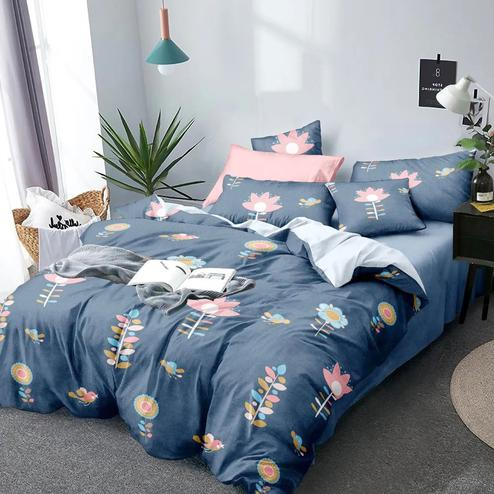 Gleaming Greyish Blue Colored Floral Printed Queen Sized Bedsheet With Cushion Cover