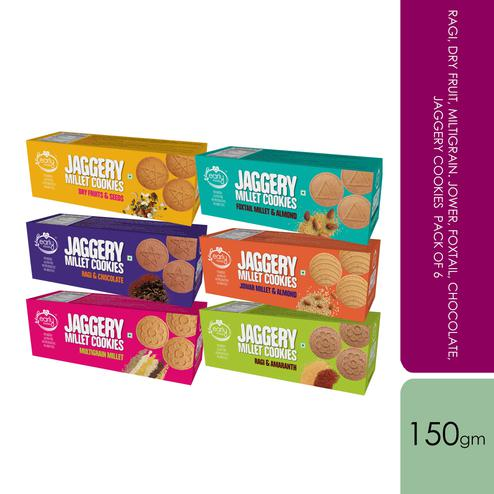 Early Foods - Assorted Pack of 6 - Ragi, Dry Fruit, Multigrain, Jowar, Foxtail, Chocolate Jaggery Cookies, 150g X 6