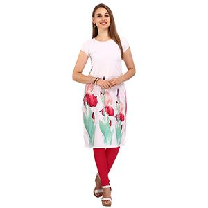 White Digital Print Stitched Kurti