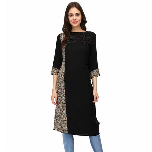 Adorable Black Colored Casual Wear Solid Calf Length Rayon Straight Kurti