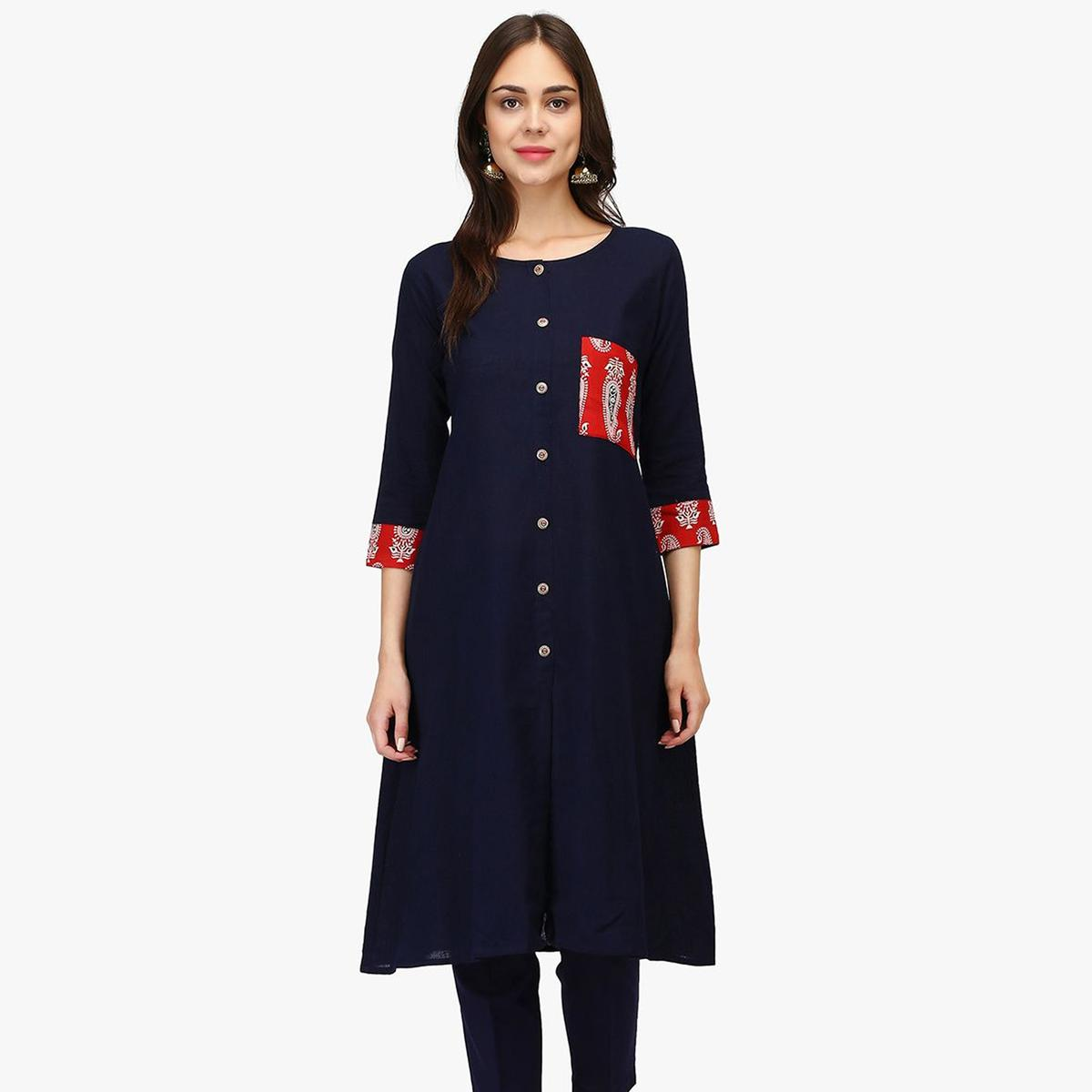 Beautiful Navy Blue Colored Casual Wear Solid Calf Length Rayon A-Line Kurti