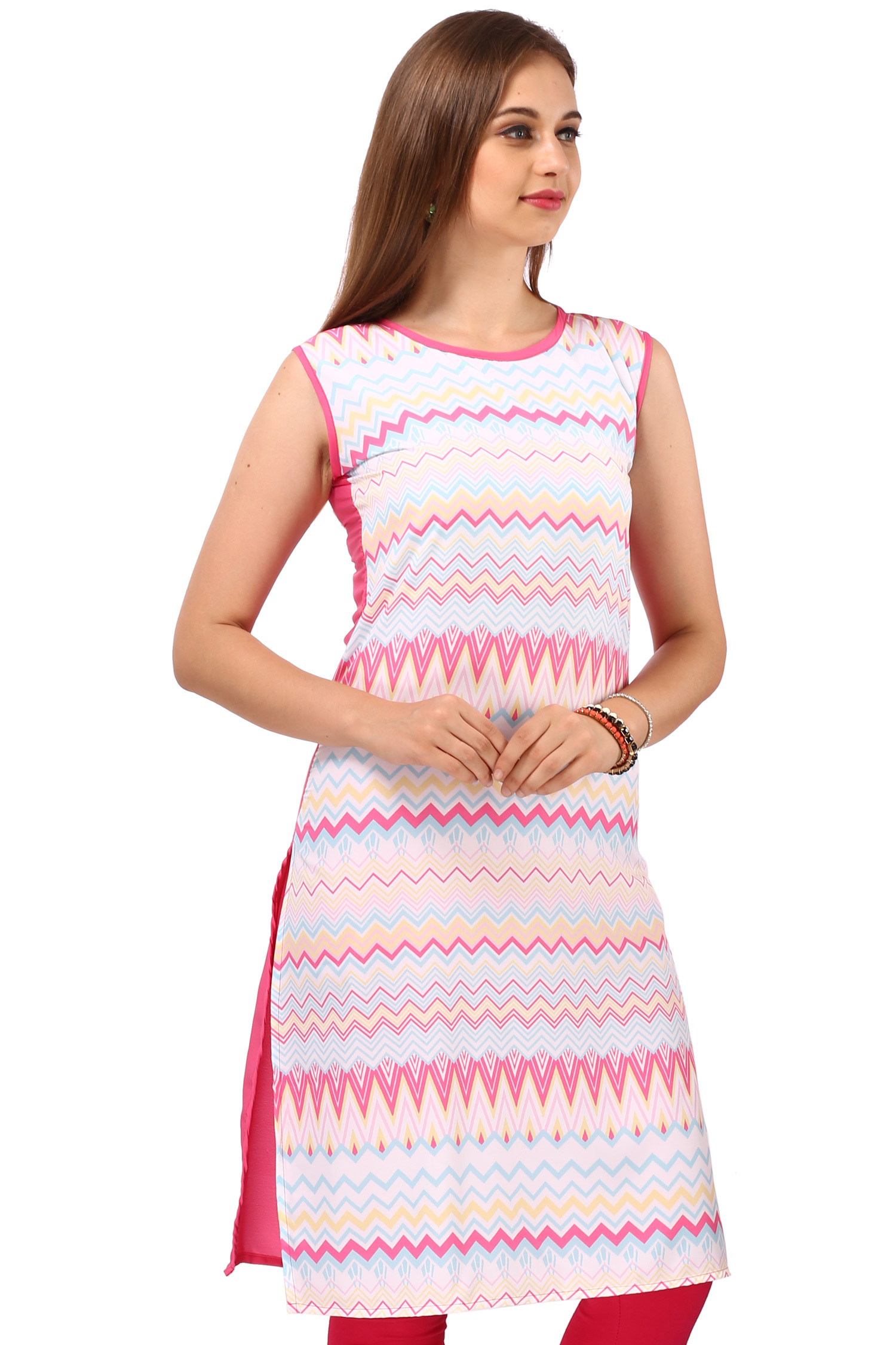 Multicolored Printed Crepe Kurti