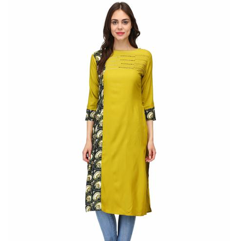 Jazzy Light Mehendi Green Colored Casual Wear Solid Calf Length Rayon Straight Kurti