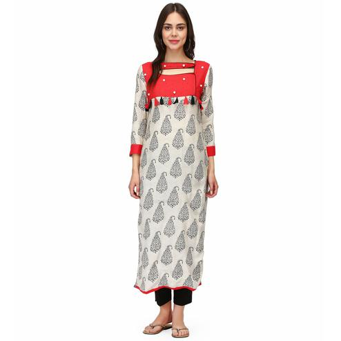Delightful White Colored Casual Wear Block Printed Calf Length Rayon Straight Kurti