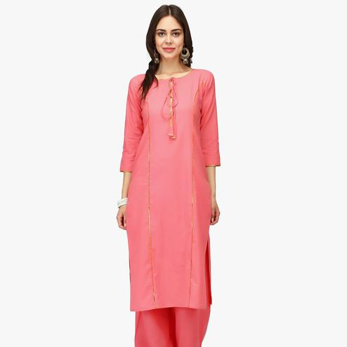 Captivating Pink Colored Casual Wear Solid Calf Length Cambric Cotton Straight Kurti