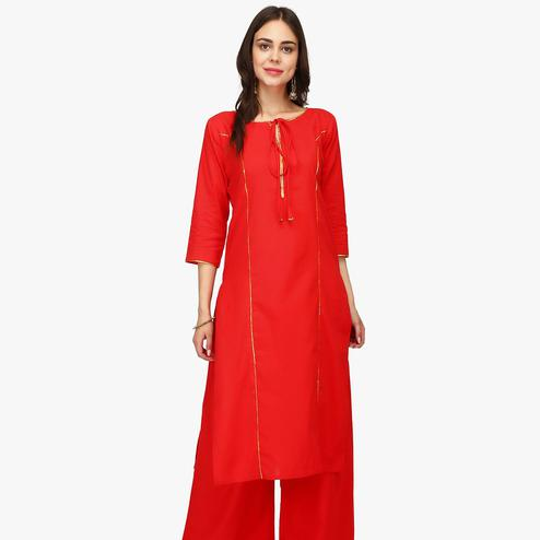 Fantastic Red Colored Casual Wear Solid Calf Length Cambric Cotton Straight Kurti