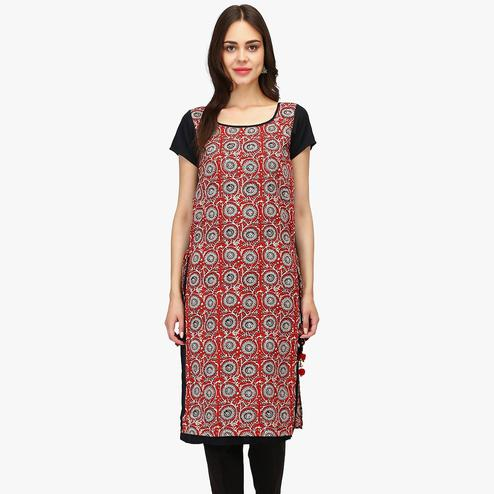 Amazing Red Colored Casual Wear Floral Printed Calf Length Cambric Cotton Straight Kurti