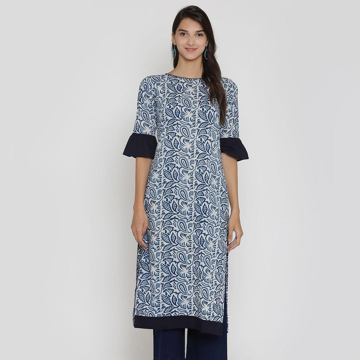 Blissful Blue Colored Casual Wear Floral Printed Calf Length Cambric Cotton Straight Kurti
