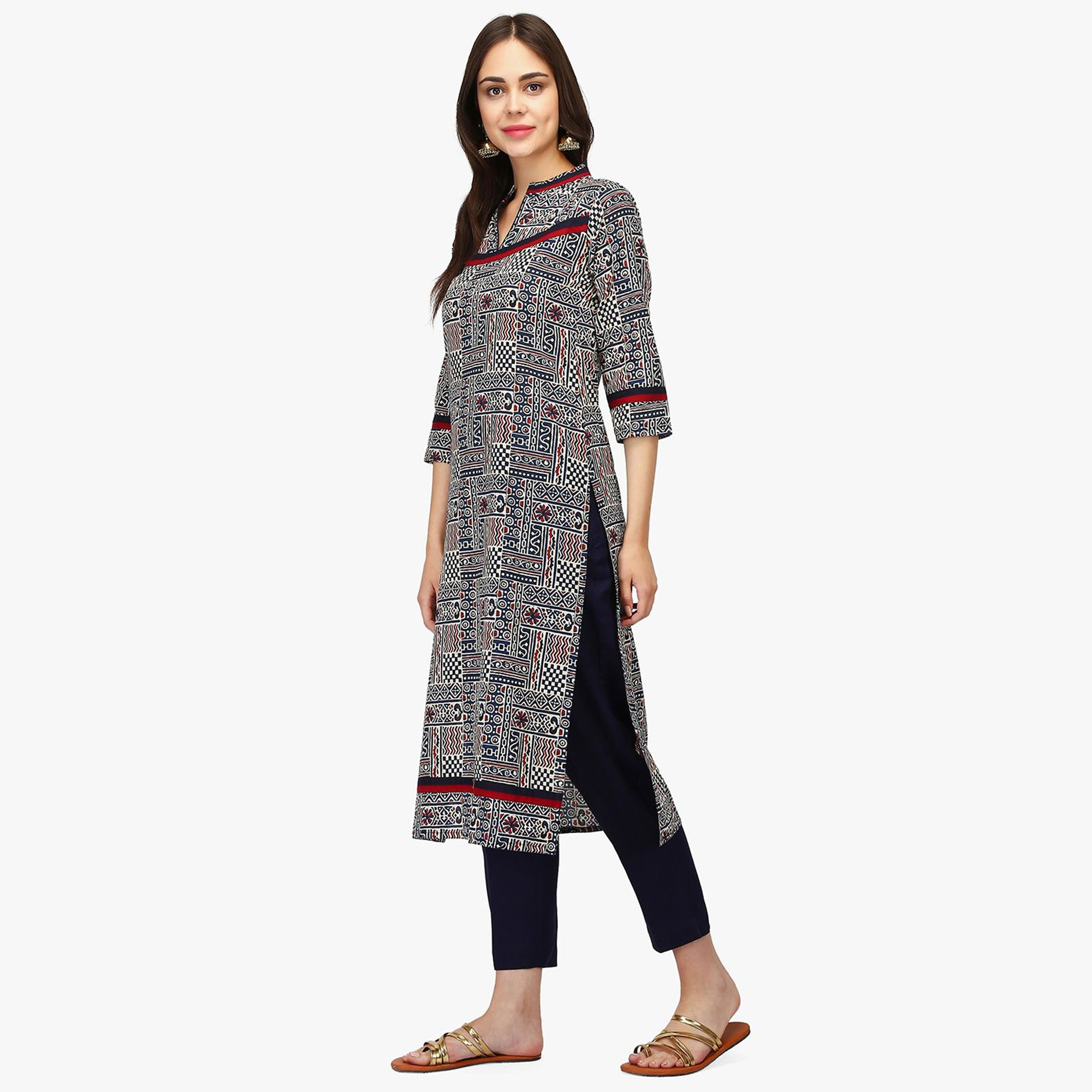 Ideal Multi Colored Casual Wear Abstract Printed Calf Length Cambric Cotton Straight Kurti