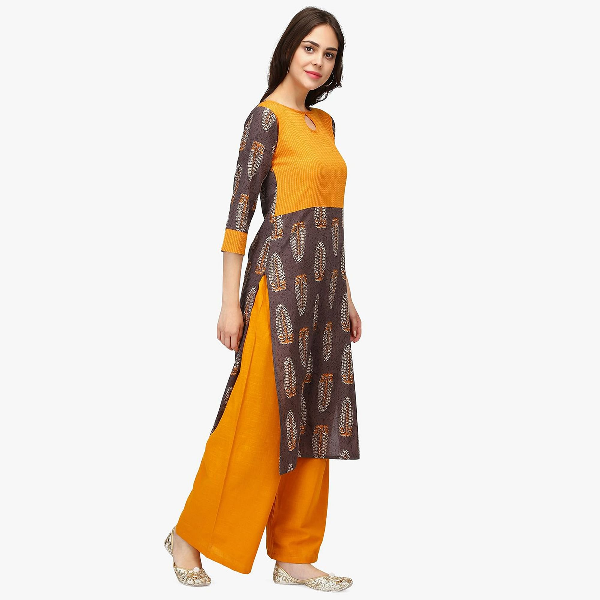 Imposing Brown-Orange Colored Casual Wear Floral Printed Calf Length Cambric Cotton Straight Kurti