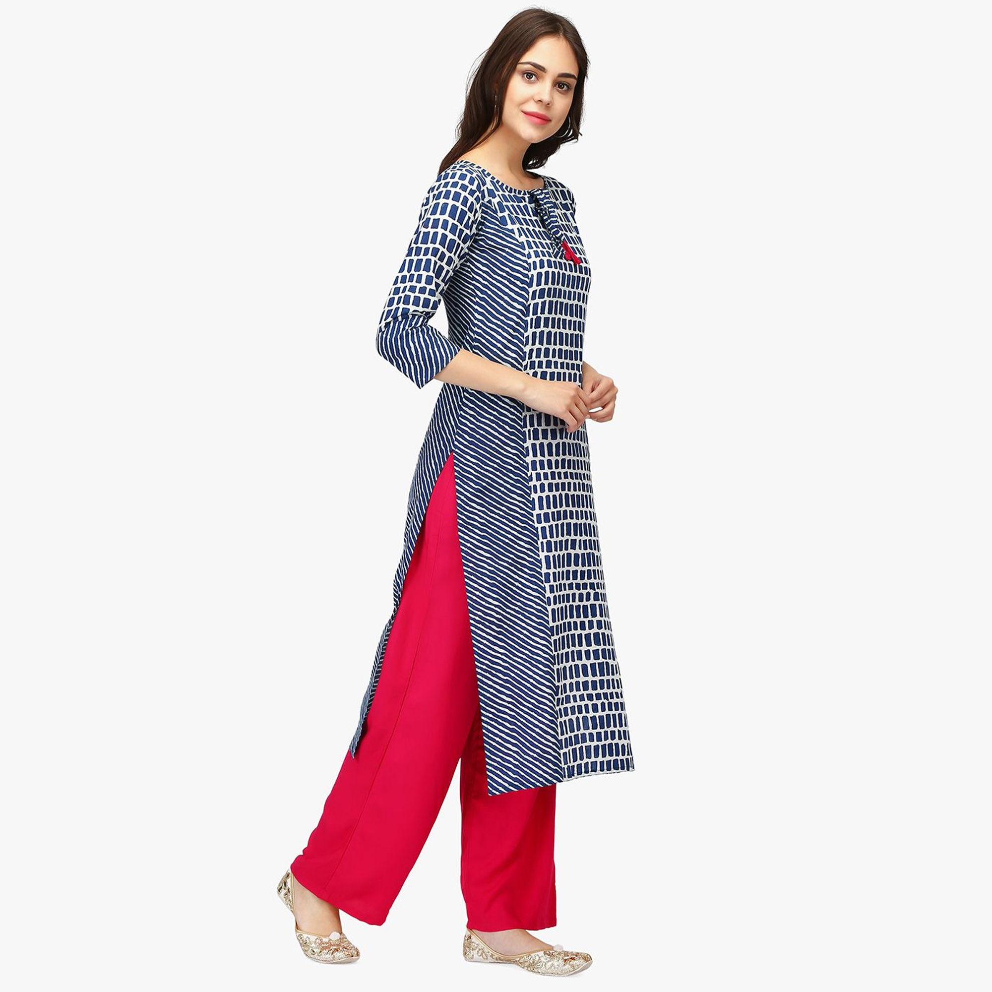 Lovely Blue Colored Casual Wear Abstract Printed Calf Length Cambric Cotton Straight Kurti