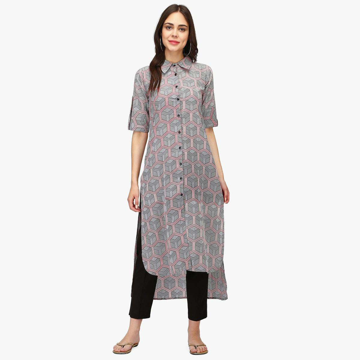 Majesty White-Grey Colored Casual Wear Geometric Printed Calf Length Cambric Cotton Straight Kurti