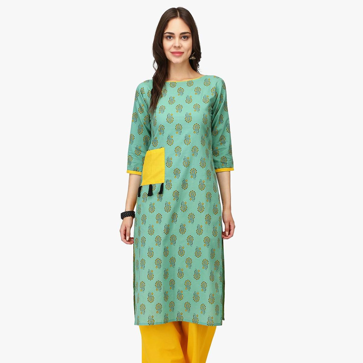 Impressive Mint Green Colored Casual Wear Floral Printed Calf Length Cambric Cotton Straight Kurti