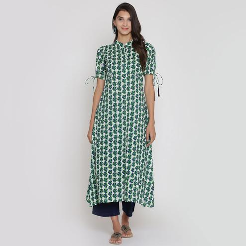 Ravishing Green Colored Casual Wear Floral Printed Calf Length Cambric Cotton A-Line Kurti