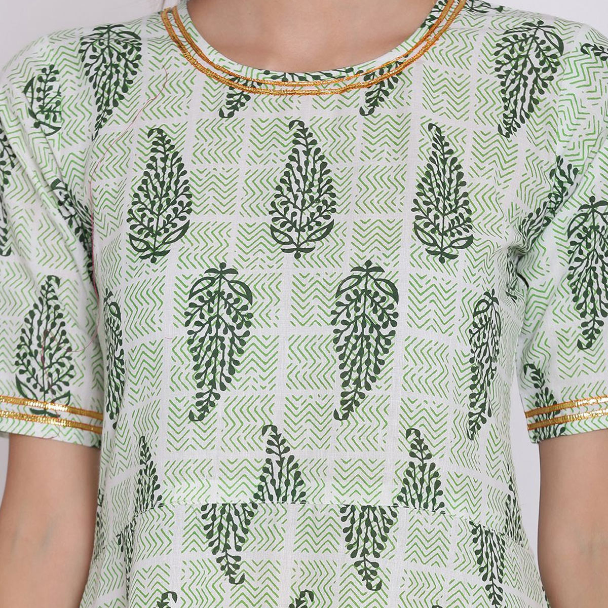 Staring Green-Off White Colored Casual Wear Floral PrinPrintedted Calf Length Cambric Cotton A-Line Kurti
