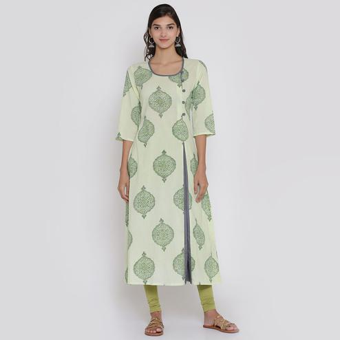 Dazzling Green Colored Casual Wear Block Printed Calf Length Cambric Cotton A-Line Kurti