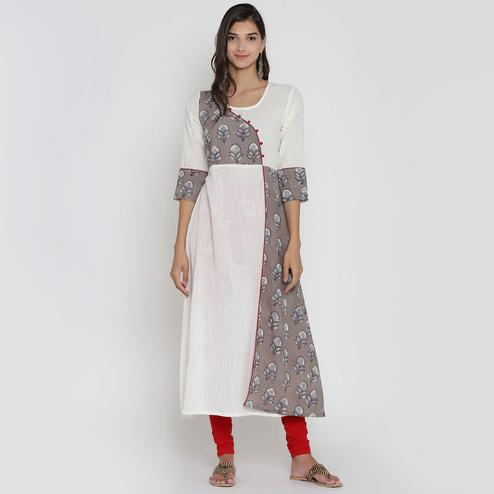 Surpassing White-Brown Colored Casual Wear Block Printed Calf Length Cambric Cotton A-Line Kurti