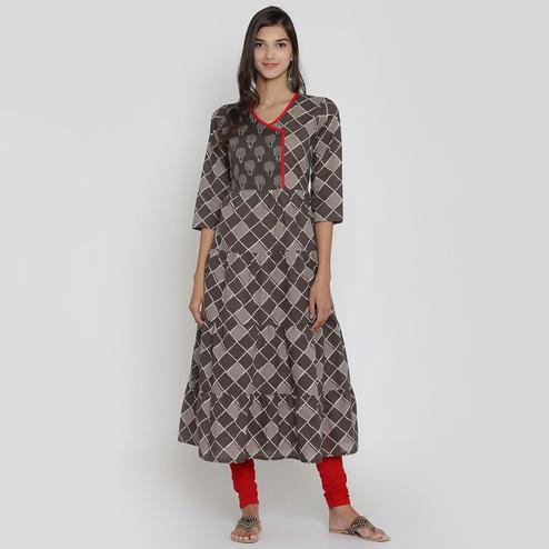 Intricate Grey-Brown Colored Casual Wear Block Printed Calf Length Cambric Cotton A-Line Kurti