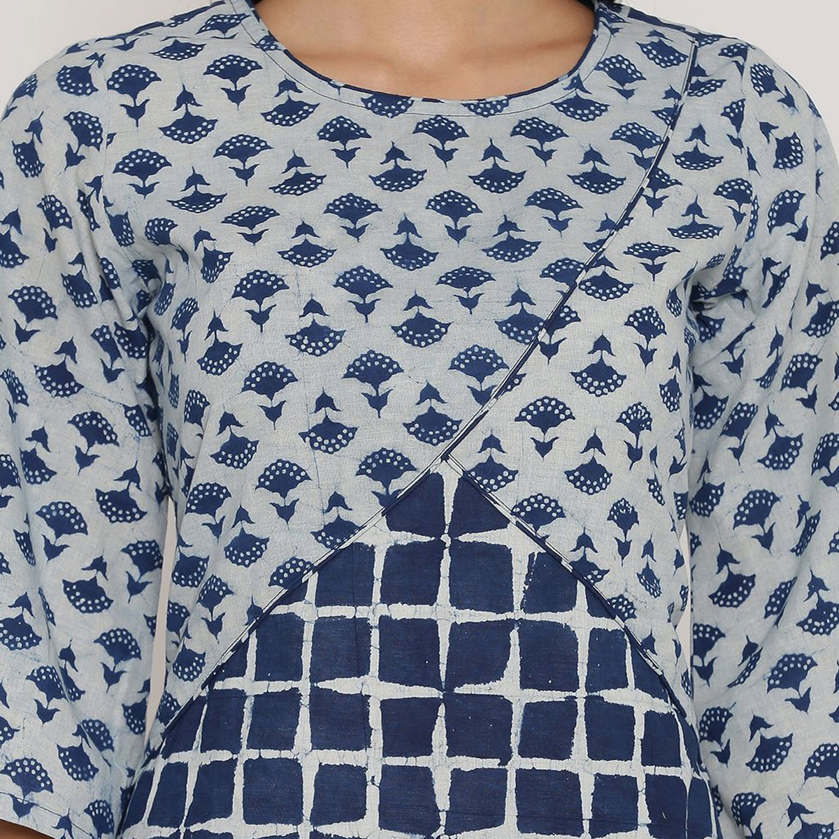 Arresting Teal Blue Colored Casual Wear Block Printed Calf Length Cambric Cotton A-Line Kurti