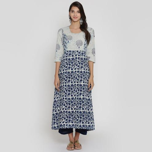 Exotic Teal Blue Colored Casual Wear Block Printed Calf Length Cambric Cotton A-Line Kurti