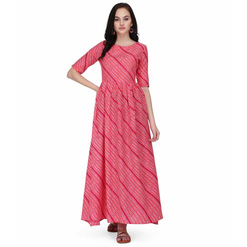 Pleasant Pink Colored Casual Wear Stripes Printed Ankle Length Rayon Flared Kurti
