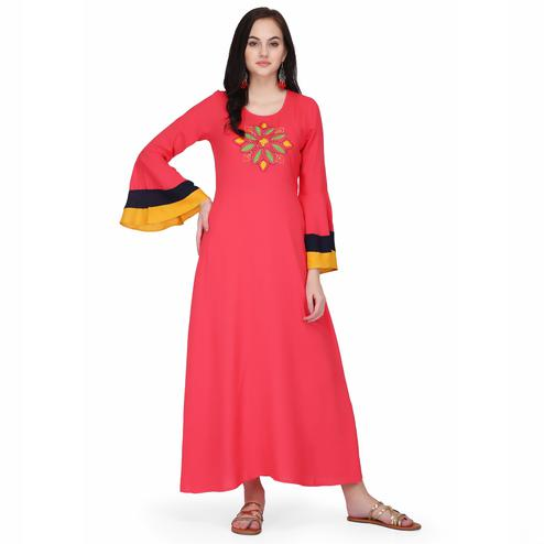 Opulent Pink Colored Casual Wear Solid Ankle Length Rayon A-Line Kurti