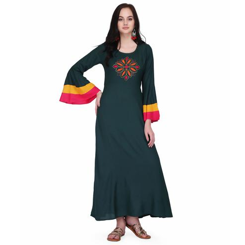 Energetic Green Colored Casual Wear Solid Ankle Length Rayon A-Line Kurti