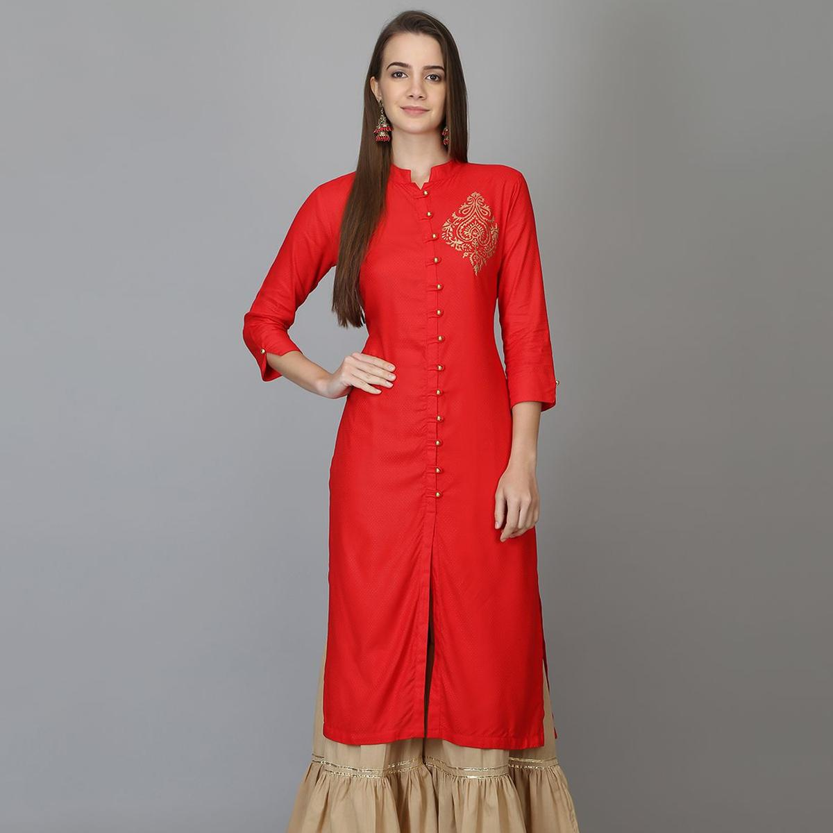 Gleaming Red Colored Casual Wear Solid Calf Length Rayon Straight Kurti