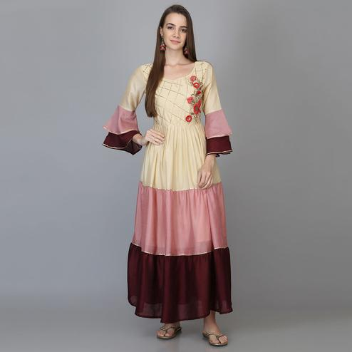Mesmeric Multi Colored Party Wear Colour-block Ankle Length Georgette Flared Kurti