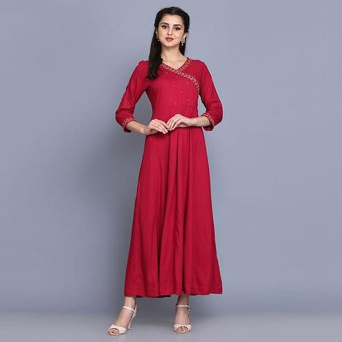 Magnetic Magenta Pink Colored Party Wear Solid Ankle Length Rayon Anarkali Kurti