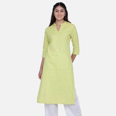 Flattering Light Lemon Green Colored Casual Wear Solid Calf Length Rayon Straight Kurti