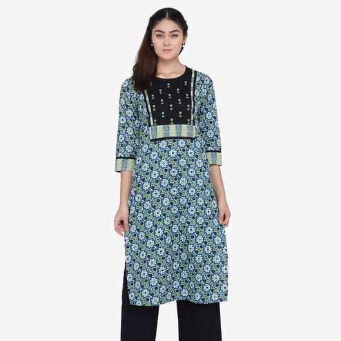 Preferable Blue Colored Casual Wear Floral Printed Calf Length Cambric Cotton Straight Kurti