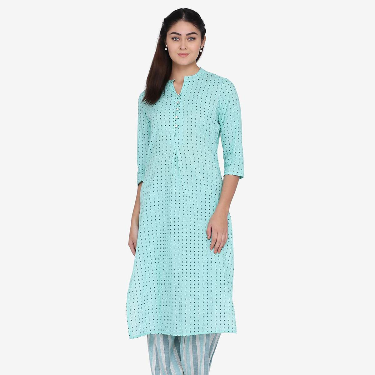 Marvellous Blue Colored Casual Wear Abstract Printed Calf Length Cambric Cotton Straight Kurti